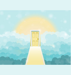 Cartoon door to heaven in the sky vector