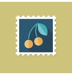 Cherry flat stamp with long shadow vector image vector image