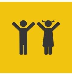 Children silhouette icon vector