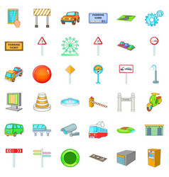 City pointer icons set cartoon style vector