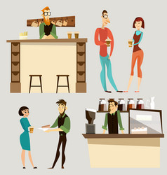 coffee bar people icon set vector image vector image