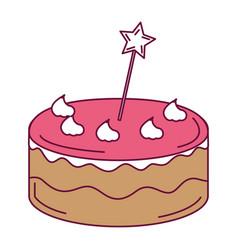 Delicious cake with stars celebration icon vector
