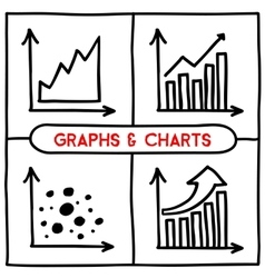Doodle graph icons set vector image