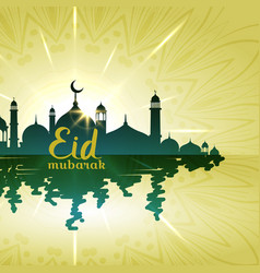 Eid mubarak background with mosque with water vector