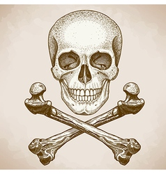 engraving skull and bones retro style vector image