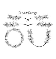 Flower design divider text frame and vector