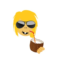 girl drink coconut milk vector image