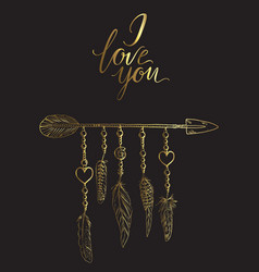 Golden luxary boho elements with vector