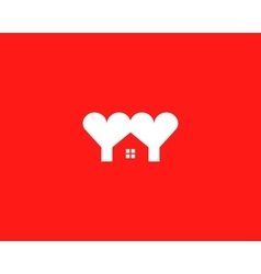 Heart house logotype Love home logo symbol vector image