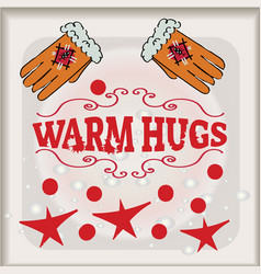 hugs with great love lettering banner vector image vector image