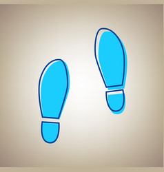 Imprint soles shoes sign sky blue icon vector