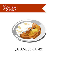Japanese curry with boiled rice on shiny plate vector