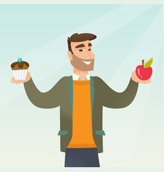 Man choosing between an apple and a cupcake vector