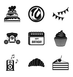 natal day icons set simple style vector image vector image