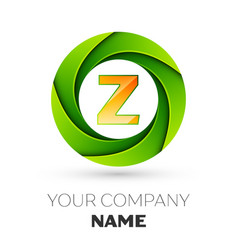 Realistic letter z logo in the colorful circle vector