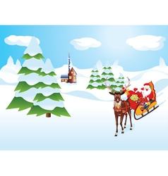 Santa riding reindeer sleigh vector