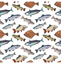 Seamless pattern of sketch style sea fish vector image vector image
