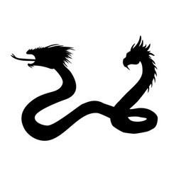 serpent two headed silhouette ancient mythology vector image