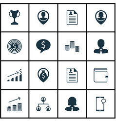 Set of 16 management icons includes pin employee vector