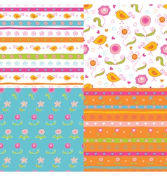 Set of fairy doodle patterns vector image vector image