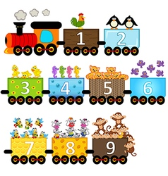 train with number of animals vector image vector image