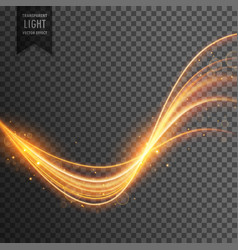 transparent light effect in gold color vector image vector image