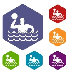 Water polo icons set vector image