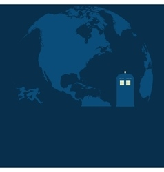 Police Box on the moon with running people vector image