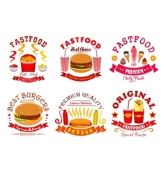 Fast food snack dessert menu signs icons set vector