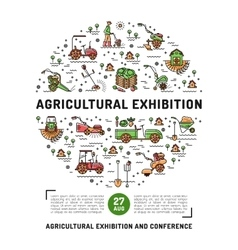 Agricultural exhibition design template flyer vector
