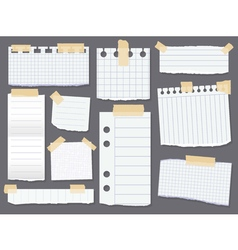 Line note papers Scotch taped lined paper pieces vector image