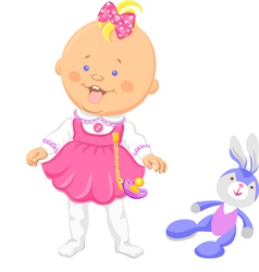 Baby girl in a pink dress learning to walk vector image