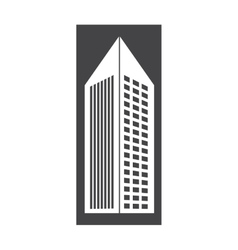 Contour building with pointed top icon vector