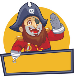 Pirate salute with blank sign vector