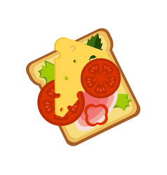 Toast with cheese ham and vegetables street fast vector