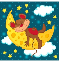 Mouse sleeping on the moon in the form of cheese vector