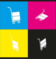 hand truck sign  white icon with isometric vector image