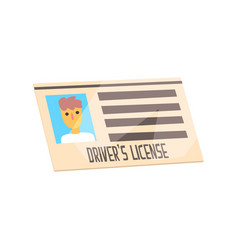 Man driver license identification card cartoon vector