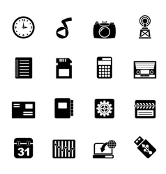 Silhouette phone performance and office icons vector