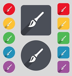 Paint brush artist icon sign a set of 12 colored vector