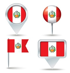 Map pins with flag of peru vector