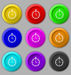 Stopwatch icon sign symbol on nine round colourful vector