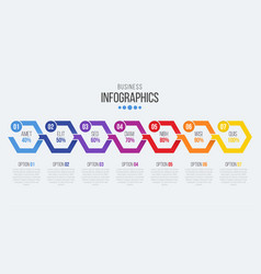 7 steps timeline infographic template with arrows vector image vector image