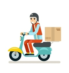 Delivery courier motorcycle scooter box symbol vector