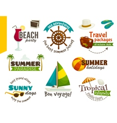Travel labels summer emblems cartoon vector