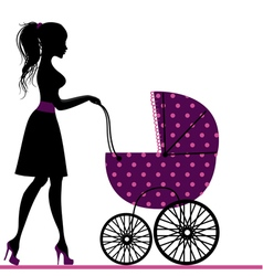 Young mom with a stroller vector