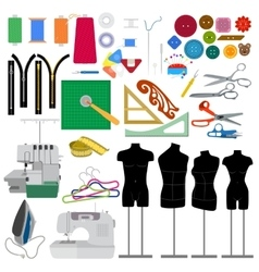 Set of flat sewing elements vector