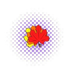 Autumn leaves icon pop-art style vector