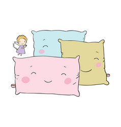 beautiful pillows and cute little angel vector image vector image