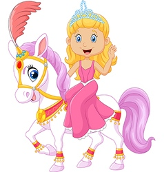 Beautiful princess riding horse isolated vector